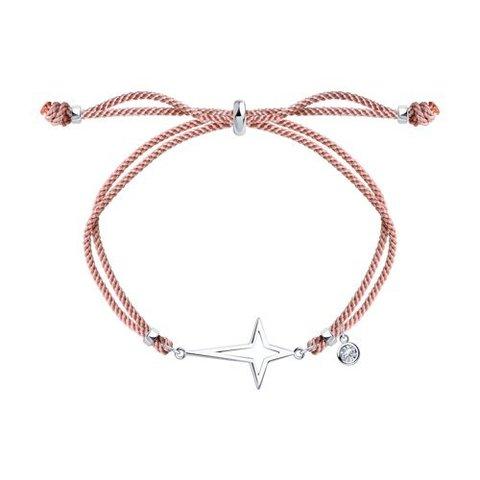 94050817 - Браслет- красная нить с подвеской  из серебра с фианитом
