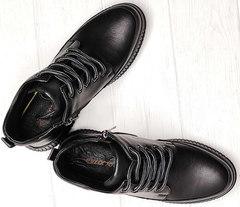 Сникерсы женские черные ботинки на шнуровке Evromoda 535-2010 S.A. Black.
