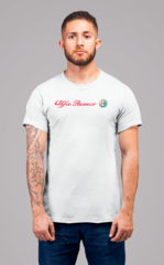 Мужская футболка с принтом Альфа Ромео (Alfa Romeo) белая 002