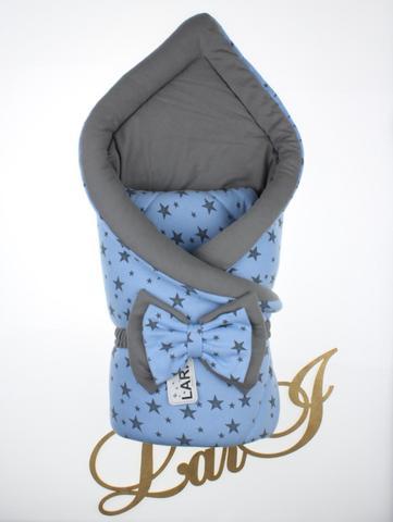 Конверт одеяло Звездопад (голубой/серый)