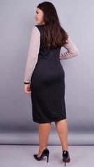 Альфа. Стильна офісна сукня плюс сайз. Пудра/чорний.