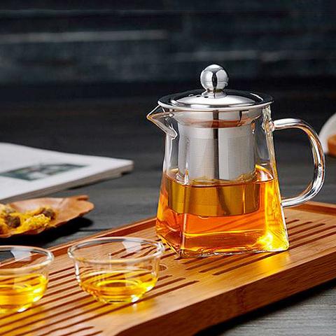 Чайник заварочный стеклянный квадратный с фильтром 550 мл