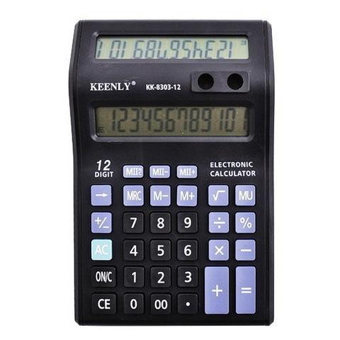 Калькулятор №8303-12, 2 дисплея + подставка для ручек