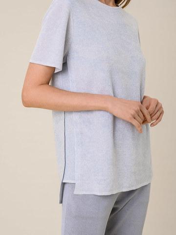 Женская футболка светло-серого цвета из вискозы - фото 4