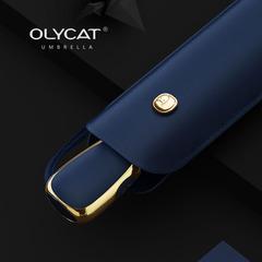 Ультратонкий элитный зонт, 6 спиц  (OLYCAT) синий с золотом