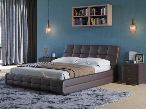 Кровать двуспальная Corso 6 Экокожа коричневая