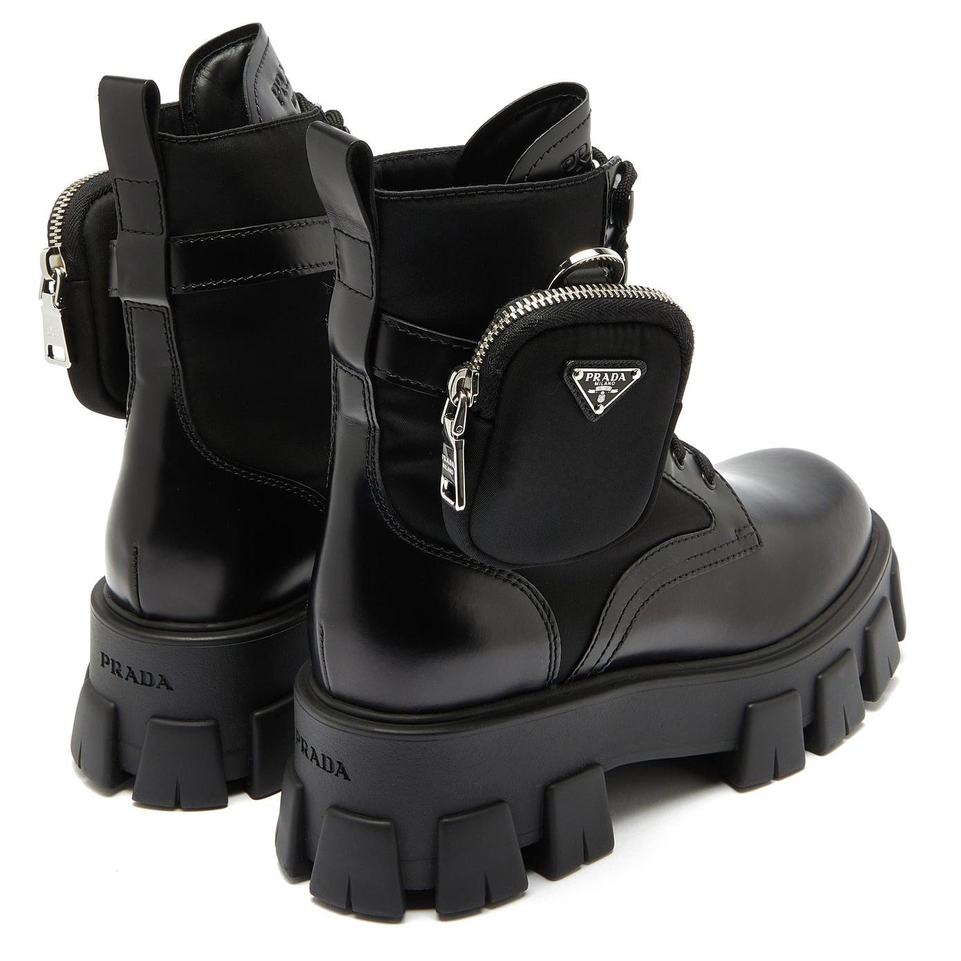 Prada Detachable-pouch Combat Boots Black
