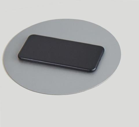 Коврик для мыши круглый Лардук под кожу серый