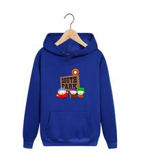 Толстовка синяя с капюшоном (худи, кенгуру) и принтом Южный парк (South Park) 002