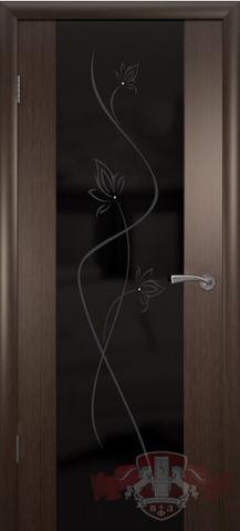 Дверь 8ДО4 чёрн. Трипл. (венге, остекленная шпонированная), фабрика Владимирская фабрика дверей