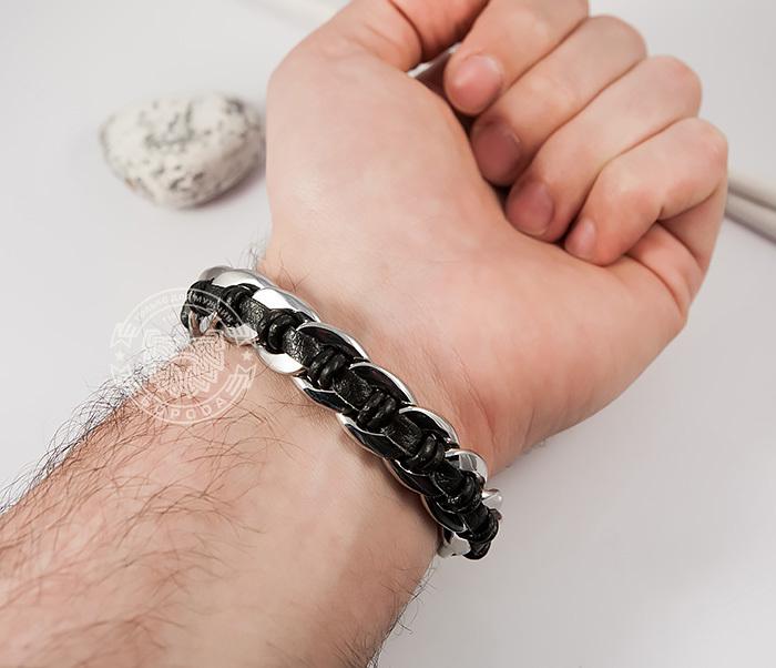 BM379 Мужской браслет с волками из натуральной кожи и стали (20 см) фото 04