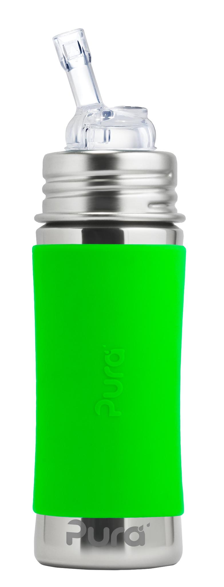 Детская стальная бутылочка с трубочкой Pura Kiki 325 мл