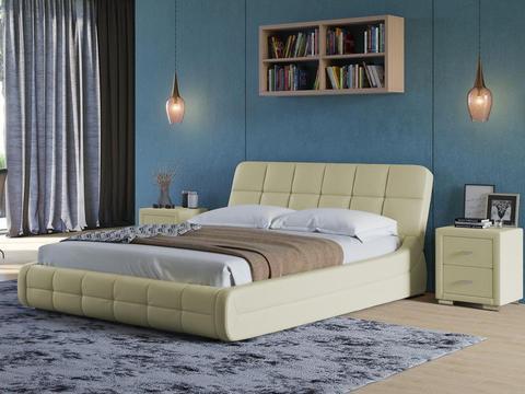 Кровать двуспальная Corso 6 Экокожа кремовый