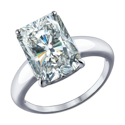 94012078 - Кольцо  из серебра с крупным фианитом
