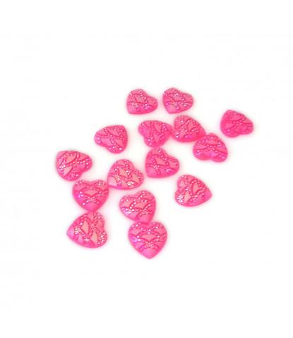 204 стразы сердечки розовые 15 шт