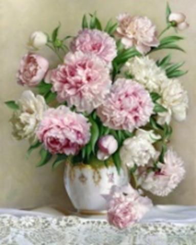 Картина раскраска по номерам 30x40 Нежно-розовые и белые пионы на столе (арт. KTL0015)