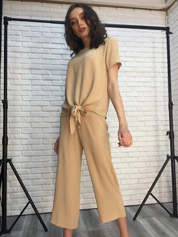 Костюм женский с брюками бежевый интернет магазин