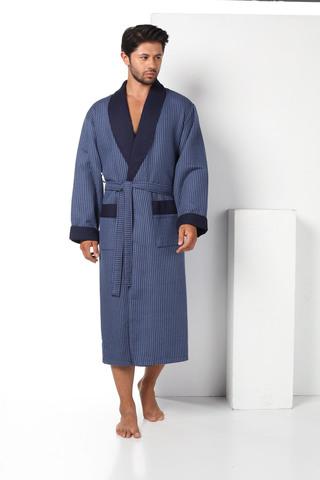 Вафельный мужской халат 15120-1 синий  NUSA Турция