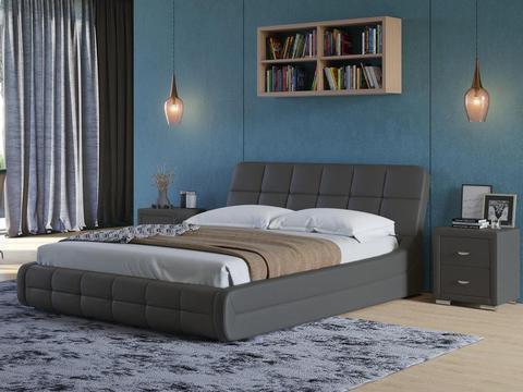 Кровать двуспальная Corso 6 Экокожа темно-серая