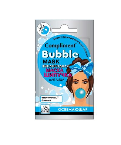 Compliment Cаше BUBBLE MASK кислородная маска-шипучка для лица освежающая