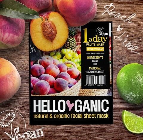 HelloGanic Маска для сияния с экстрактами Персика и Лайма / One a day Fruit mask, 1 шт