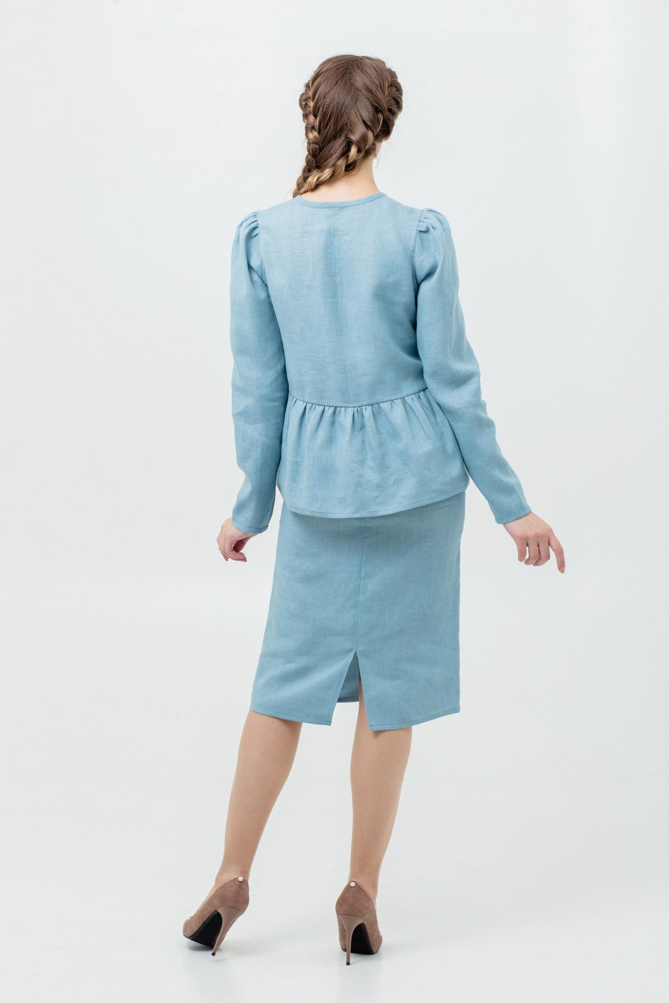 Блуза с оборкой из льна Ледяная мята