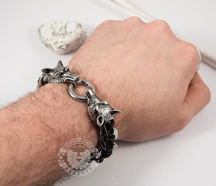 BM379 Мужской браслет с волками из натуральной кожи и стали (20 см) фото 05