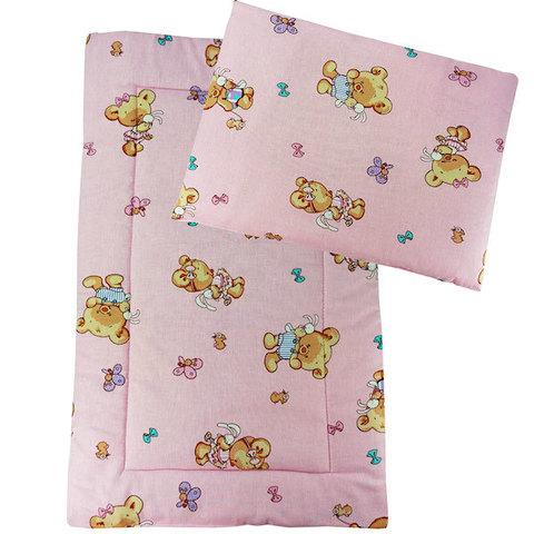 Папитто. Набор в коляску подушка и матрасик, розовый