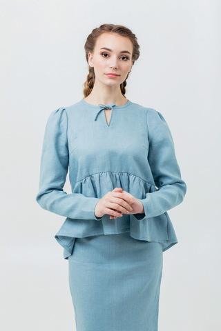 Комплект юбка и блузка из льна Ледяная мята