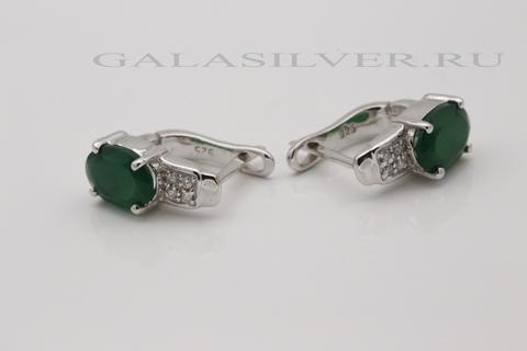 Серьги с зеленым ониксом и цирконом из серебра 925