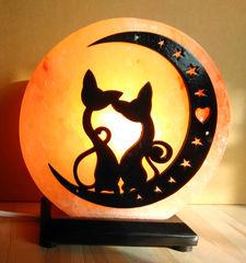 Солевая лампа Коты на луне 2-3кг