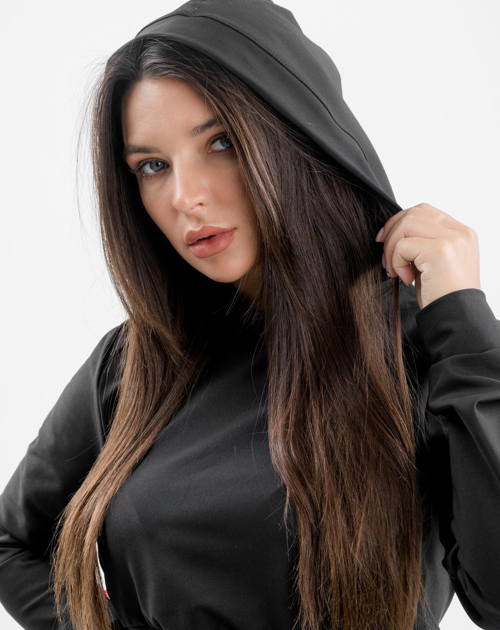 Женский топ с рукавами и капюшоном Infinity crop top with hoodie 117 black