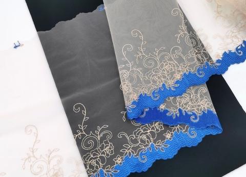 Вышивка на сетке, ЛЕВАЯ, 23 см, бежевая с золотой нитью и синим краем , (Артикул: VS-1011), м