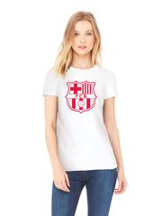 Футболка с принтом FC Barcelona (ФК Барселона) белая w001