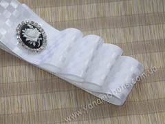 Лента атласная Шахматка белая ширина 38 мм (намотка 10 м)