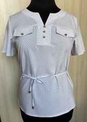 Джемма. Блуза великих розмірів з пояском, короткий рукав. Білий