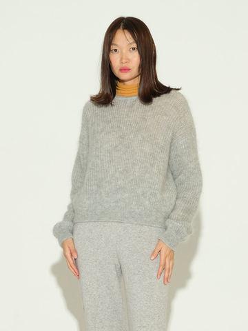 Женский джемпер серого цвета из мохера и шерсти - фото 2