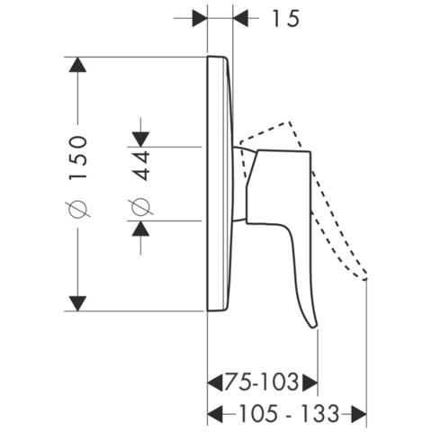 Смеситель для душа встроенный Hansgrohe Metris 31685000 схема