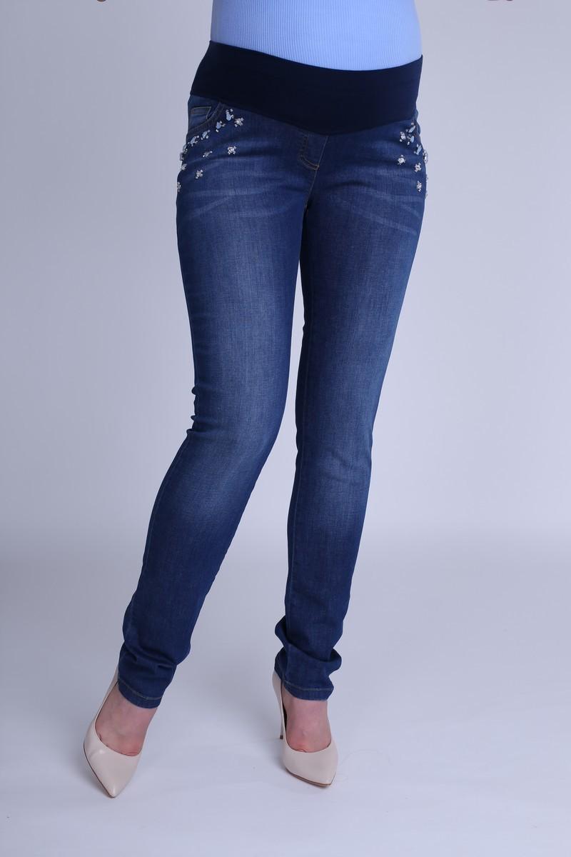 Фото джинсы для беременных GEMKO, зауженные, низкая посадка, трикотажная вставка от магазина СкороМама, синий, размеры.