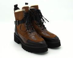 Коричневые зимние ботинки на объемной подошве из натуральной кожи