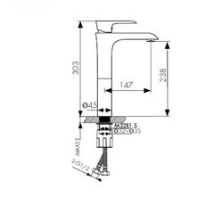 Смеситель KAISER Nove 06111 для раковины высокий схема