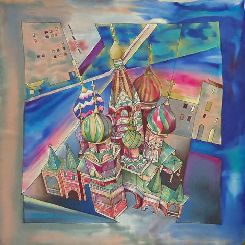 Платок Храм Василия Блаженного синий
