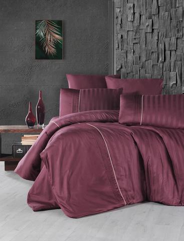 Комплект постельного белья DO&CO Сатин  жаккард DELUX MODALIFE  2 спальный Евро цвет бордовый