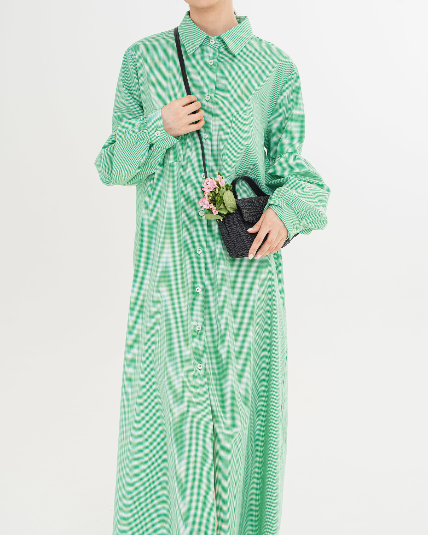 Платье -рубашка в клетку в макси длине