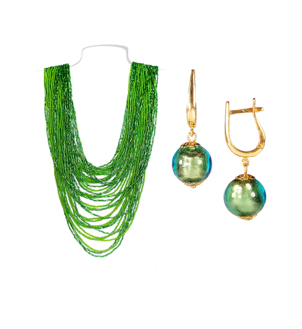 Комплект бисерный зеленый (серьги-бусины и колье) №4