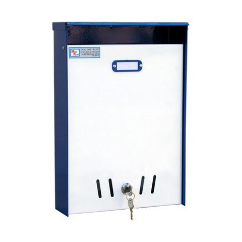 Ящик почтовый ЯП-1 1-секционный металлический белый/синий (240 x 85 x 350 мм)