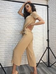 Костюм женский с брюками бежевый оптом