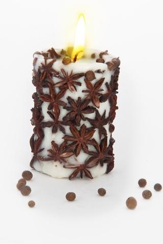Свеча-эко ручной работы SPICY NIGHT light со звездочками аниса, d 8 h 10 см/ круглая