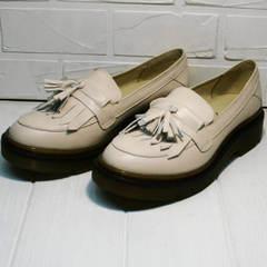 Модные осенние туфли лоферы кожаные женские Markos S-6 Light Beige.