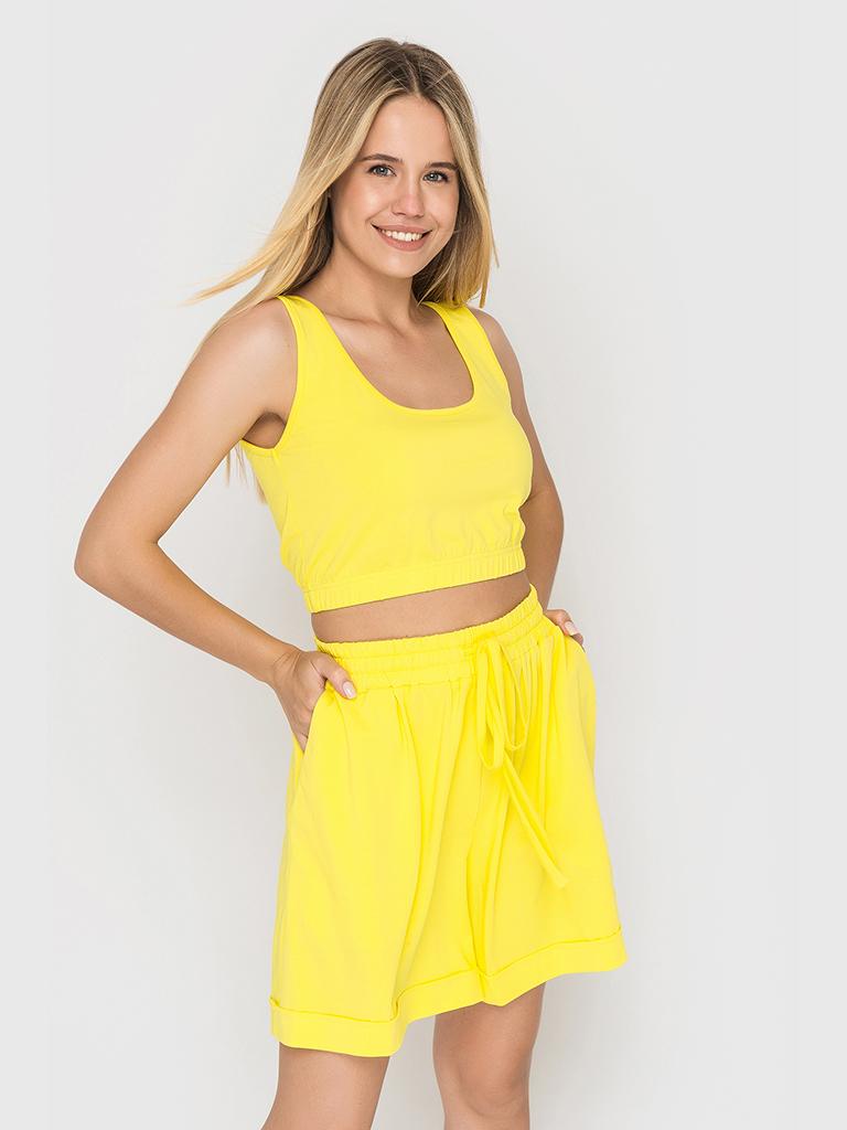 Костюм трикотажный (шорты и топ) желтый YOS от украинского бренда Your Own Style